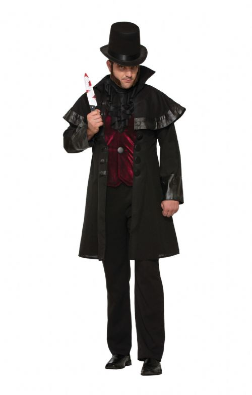 Mens Jack The Ripper Costume Victorian Halloween Fancy Dress Outfit